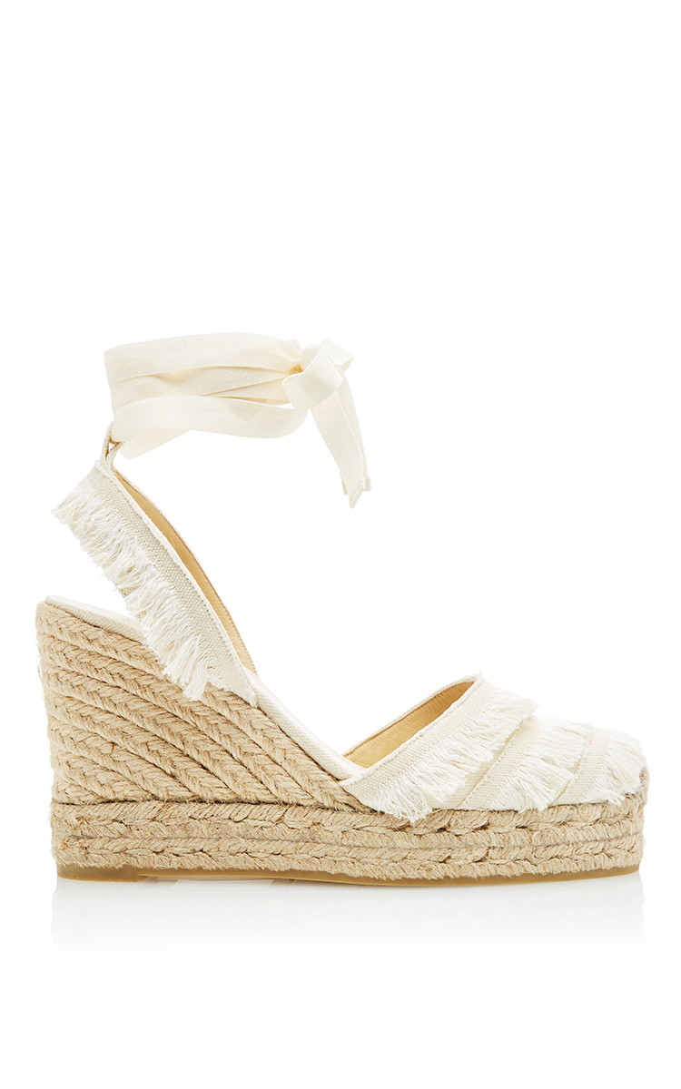 7acfd84f563 Lyst - Castaner Cala Wedge With Canvas Fringe in White