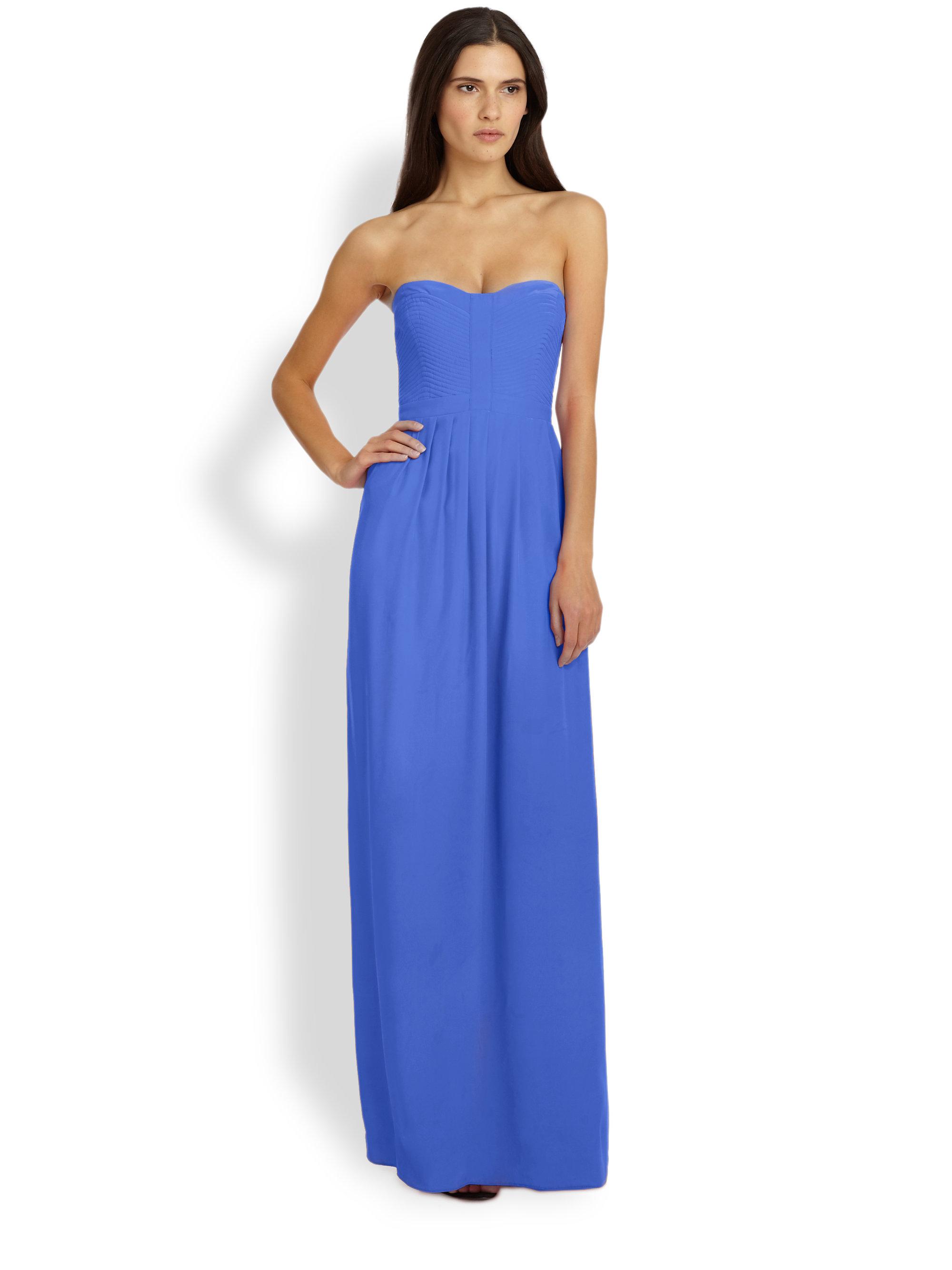 Long Strapless Silk Dresses
