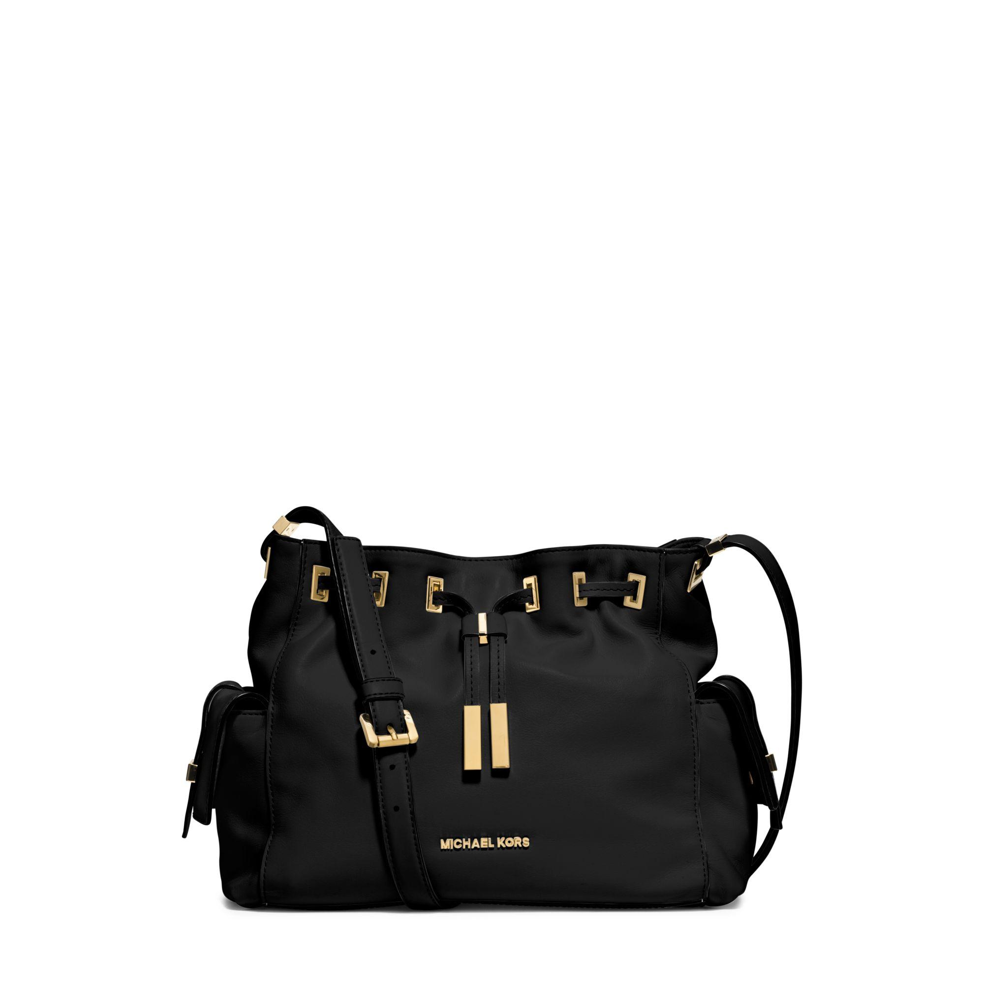 26865b3deefc ... Lyst - Michael Kors Marly Medium Drawstring Leather Messenge Michael  Michael Kors Chain Large Leather Shoulder Bag Michael Kors NEW Black White  ...