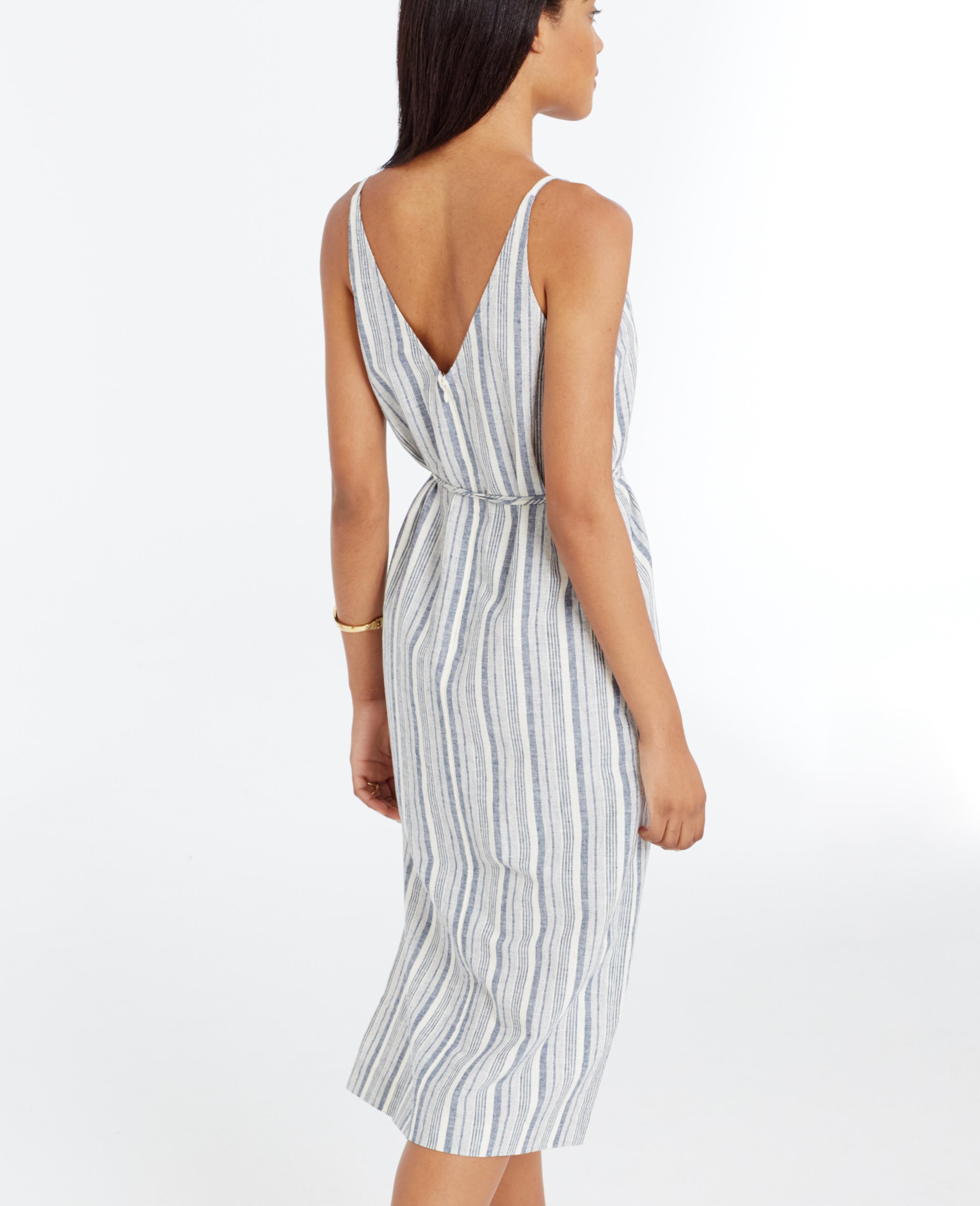 Ann Taylor Petite Striped Linen Cotton Midi Dress In Blue