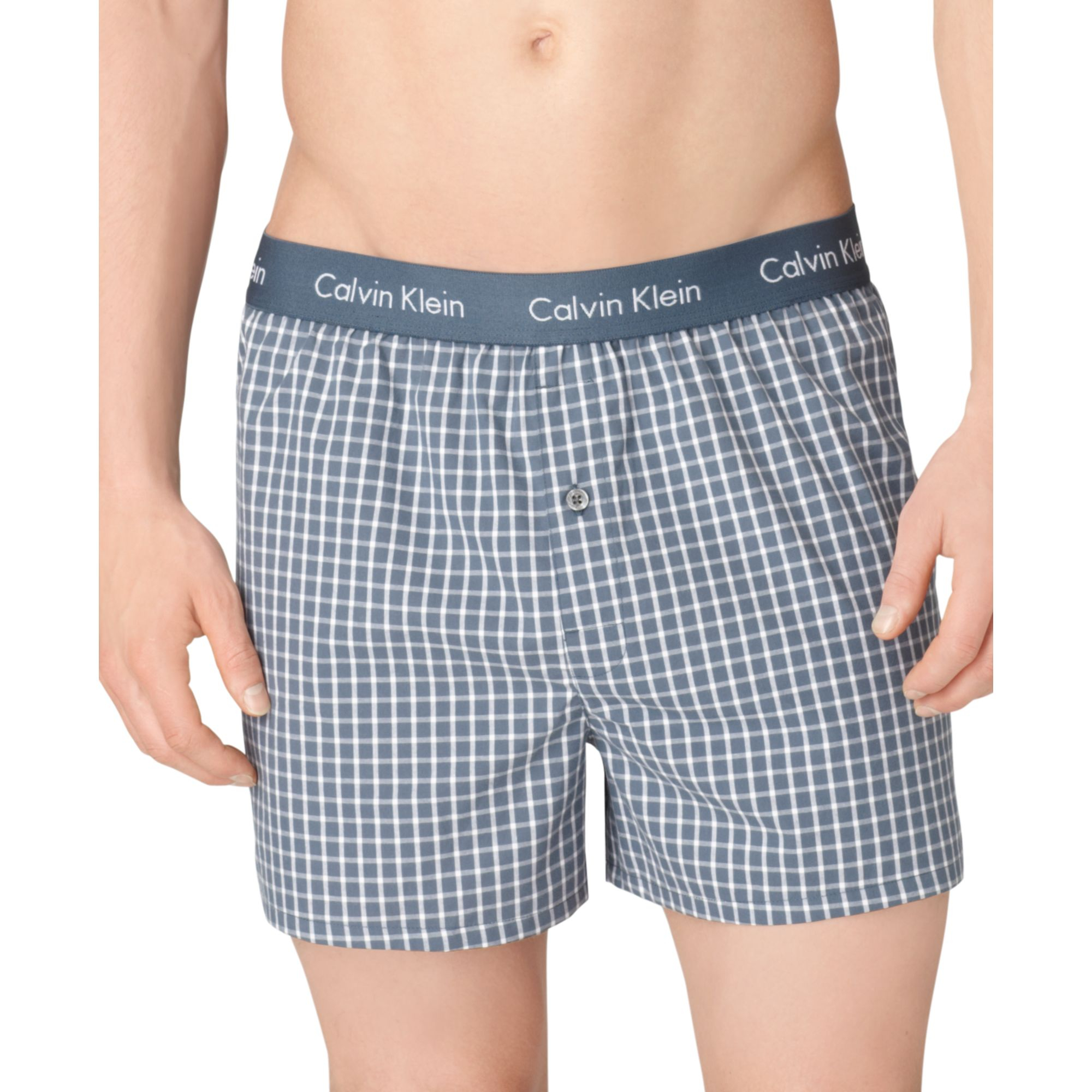 calvin klein men 39 s underwear slim fit woven boxer u1513 in gray for men micro plaid save 31. Black Bedroom Furniture Sets. Home Design Ideas