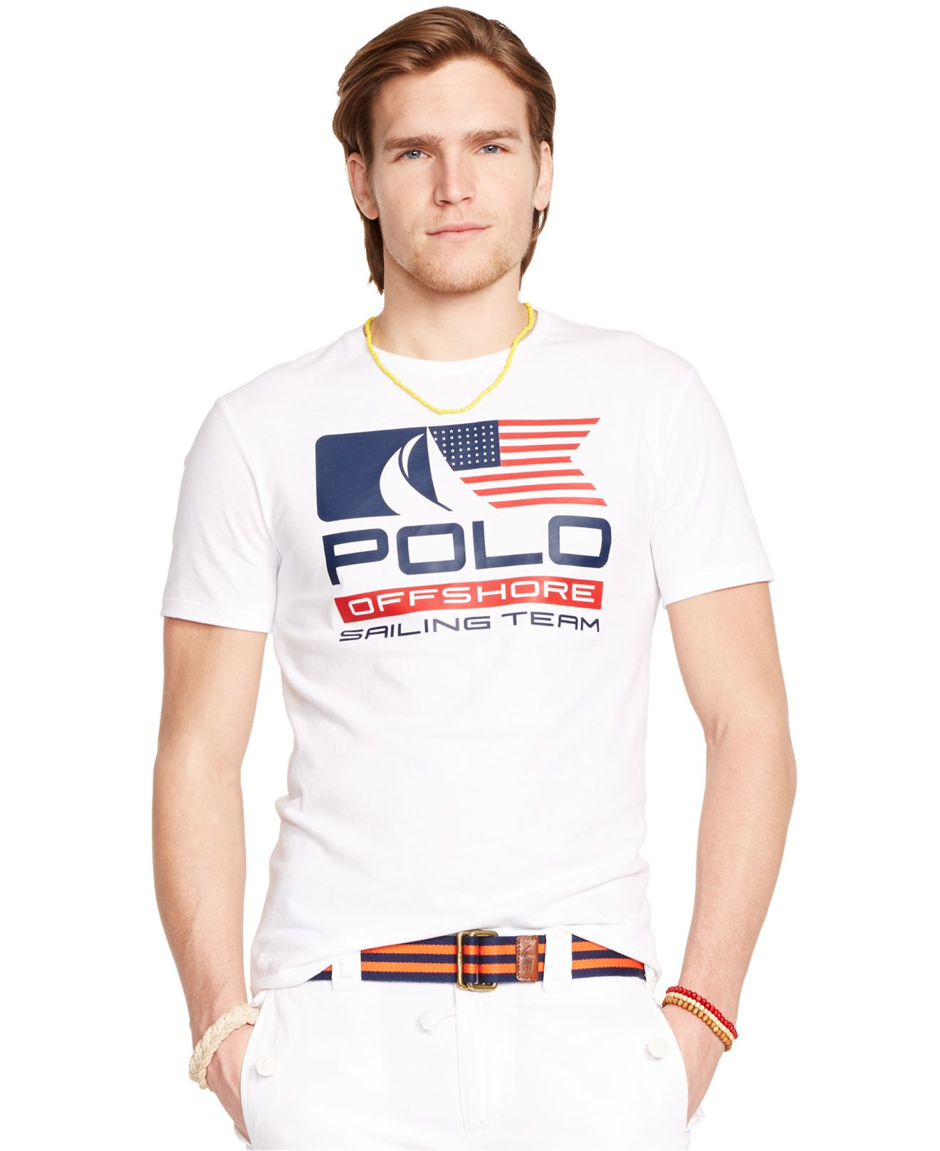 polo ralph lauren flag graphic t shirt in white for men lyst. Black Bedroom Furniture Sets. Home Design Ideas