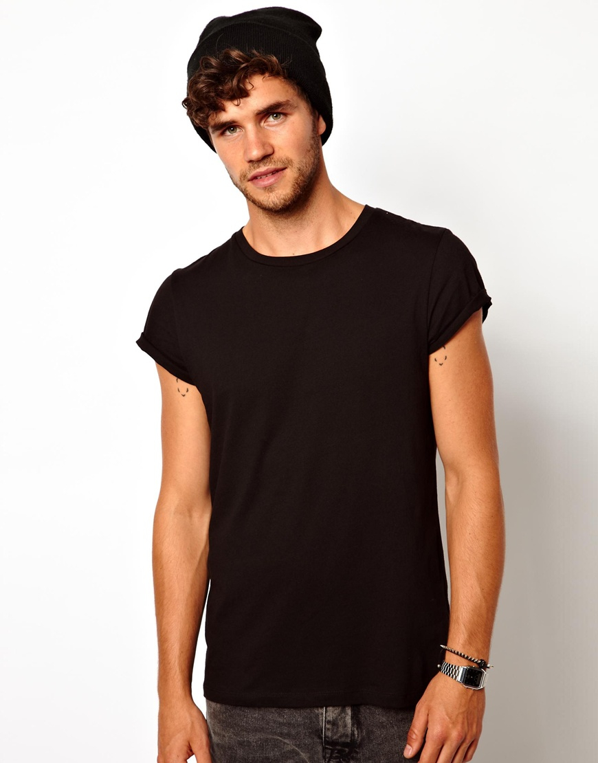 Asos tshirt with varsity back print in black for men lyst for Model black t shirt
