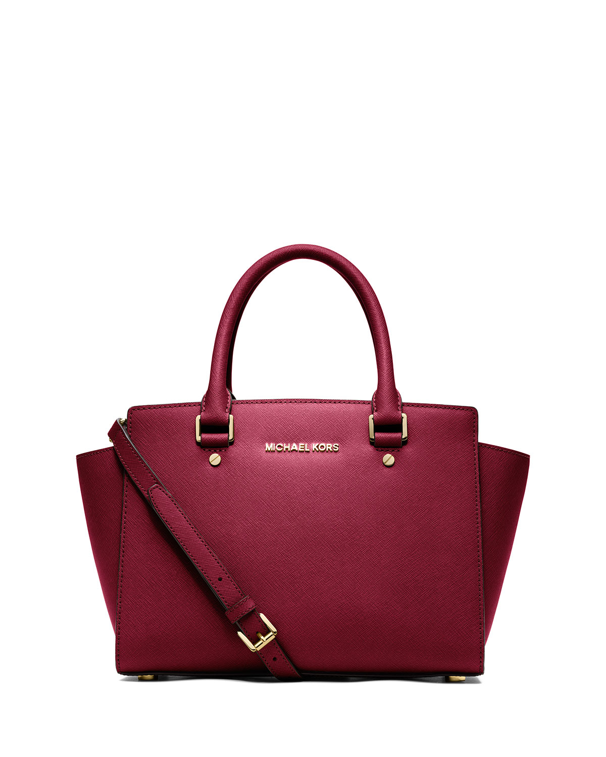michael michael kors selma medium top zip satchel bag in red lyst. Black Bedroom Furniture Sets. Home Design Ideas