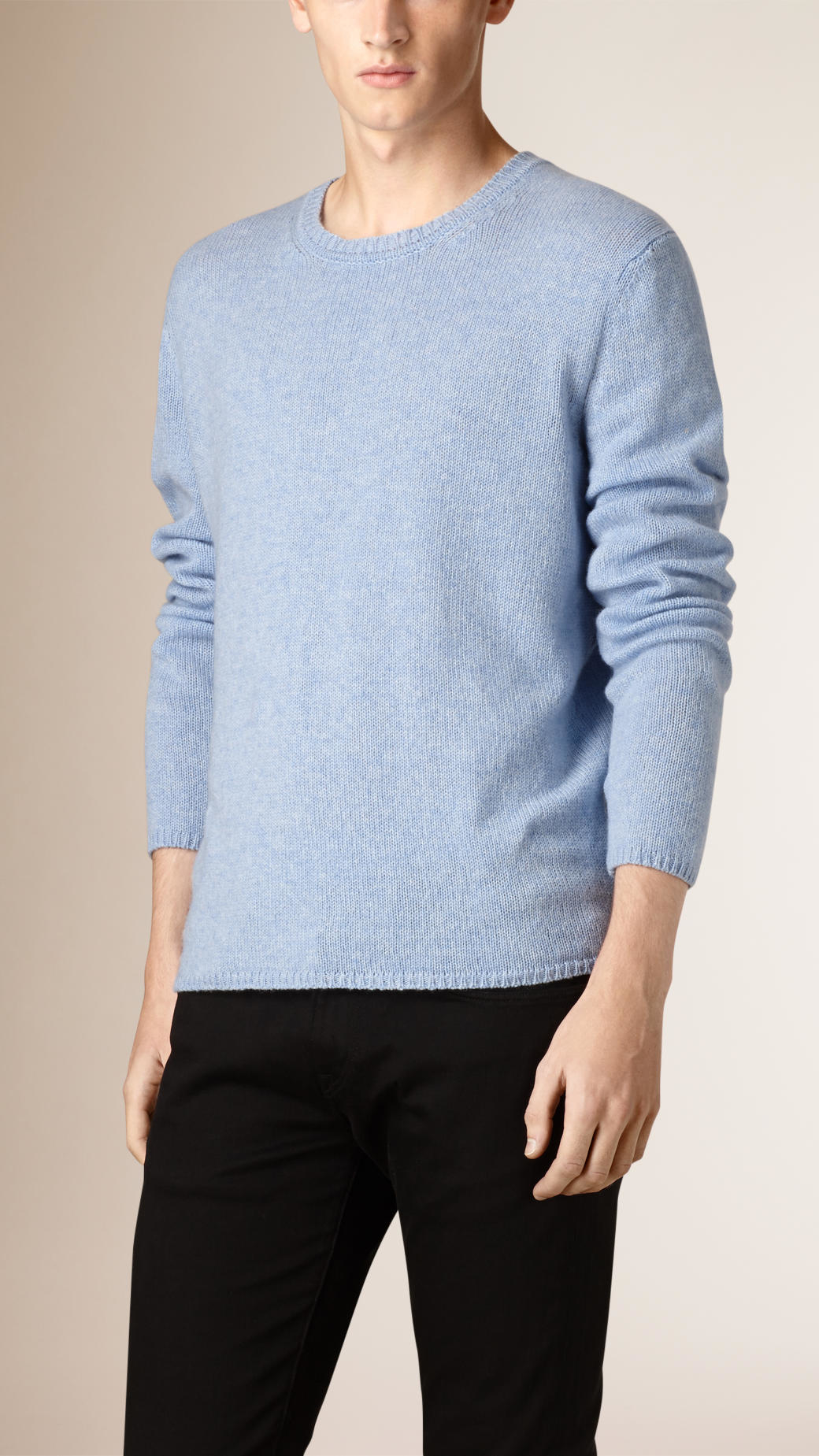 Burberry Lightweight Crew Neck Cashmere Sweater Pale Blue in Blue ...