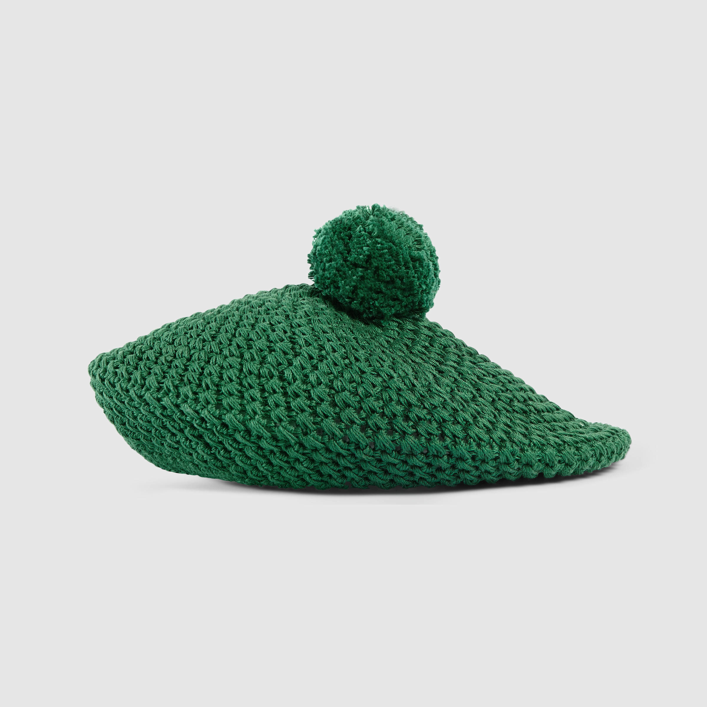 3756059b675 Lyst - Gucci Crocheted Cotton Beret in Green