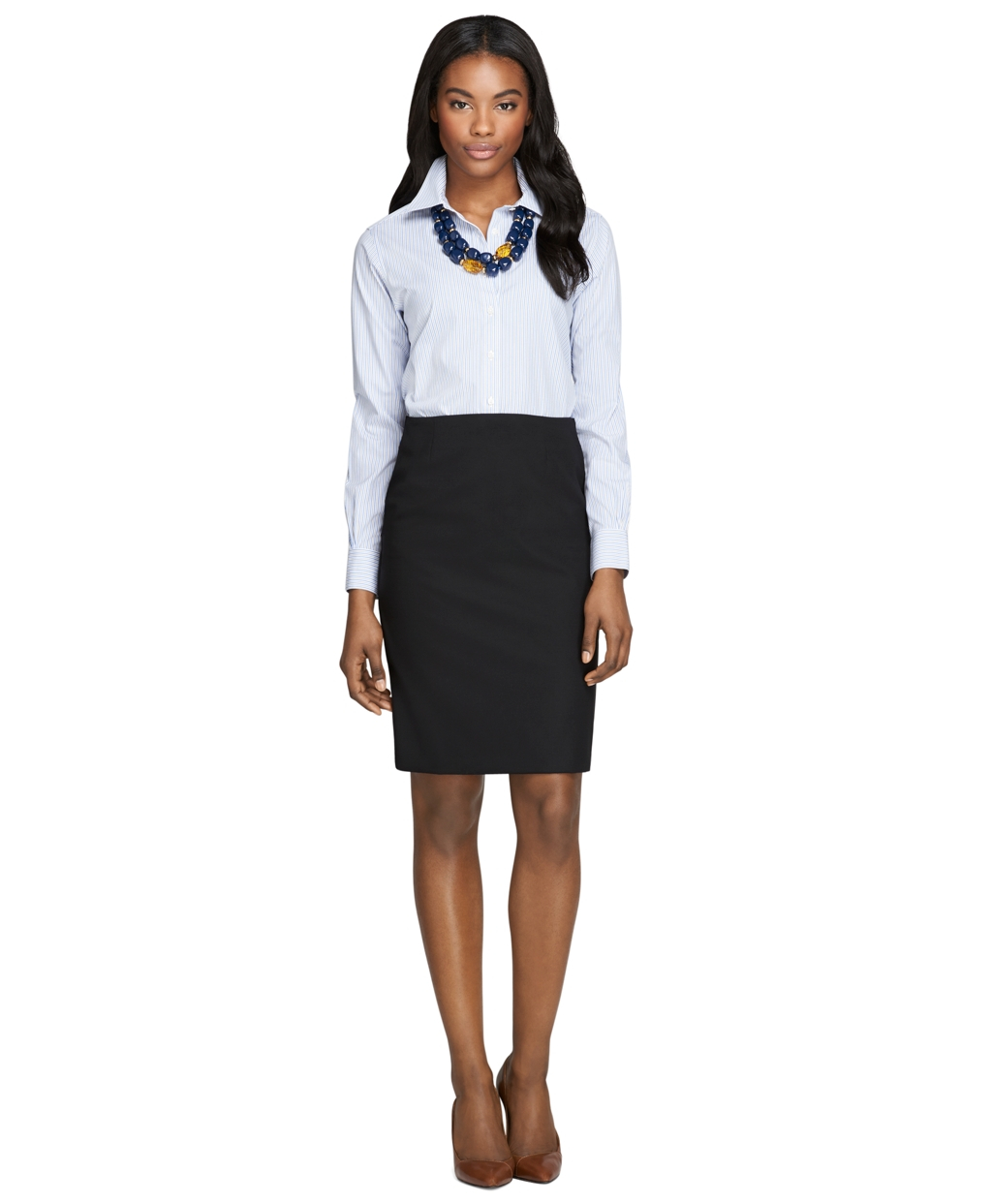 Brooks brothers Petite Wool Pencil Skirt in Black | Lyst