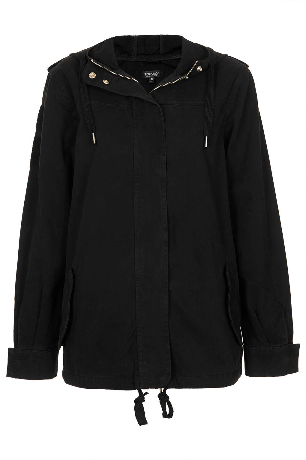 Topshop Lightweight Short Parka Jacket in Black | Lyst