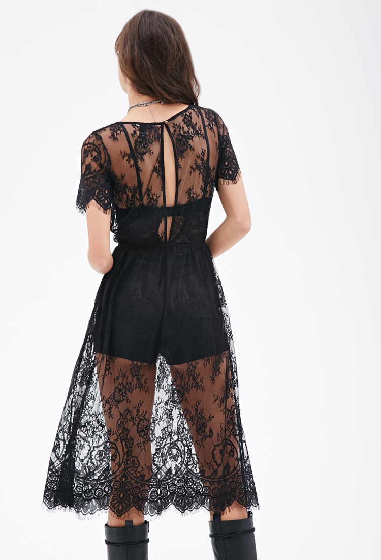 Forever 21 Sheer Lace Dress In Black Lyst