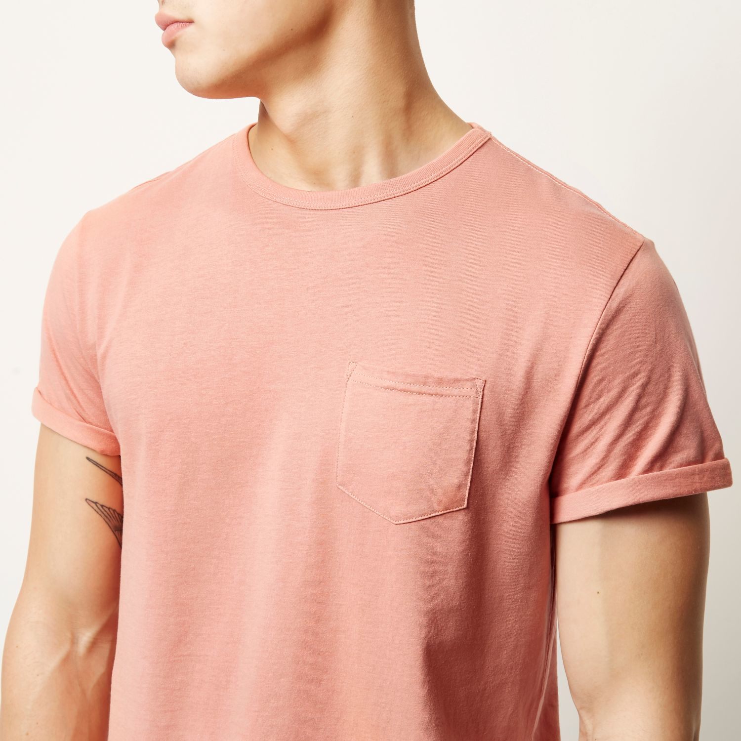 Lyst River Island Salmon Pink Plain Chest Pocket T Shirt In Pink
