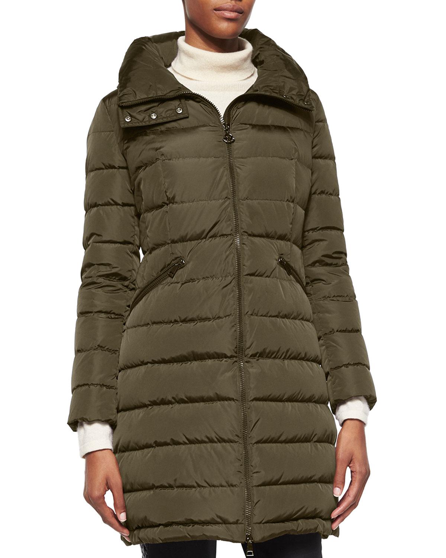 moncler flammette high-neck puffer coat beige