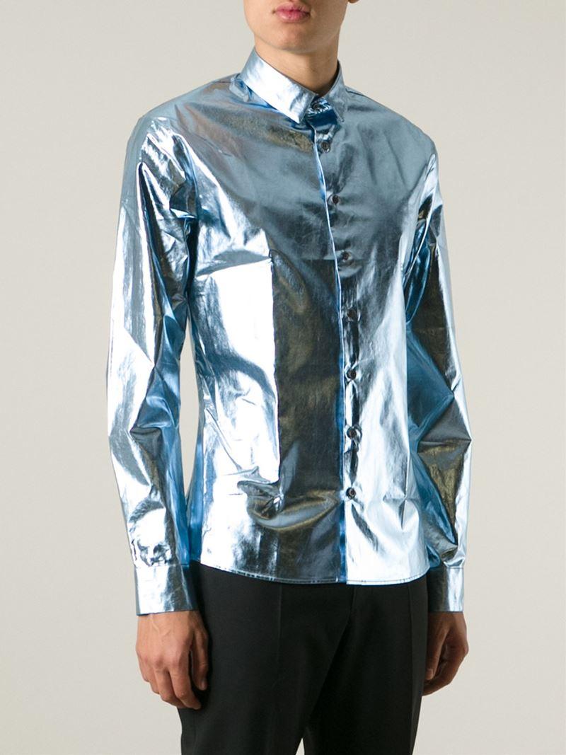 Lyst Les Hommes Metallic Shirt In Blue For Men