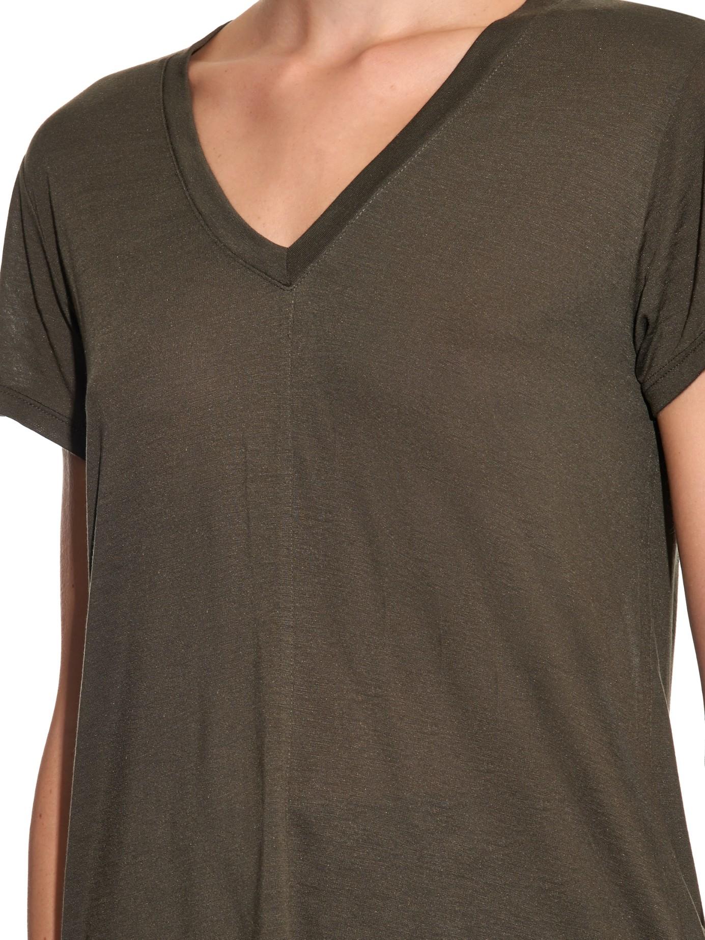 helmut lang v neck jersey t shirt in natural lyst. Black Bedroom Furniture Sets. Home Design Ideas