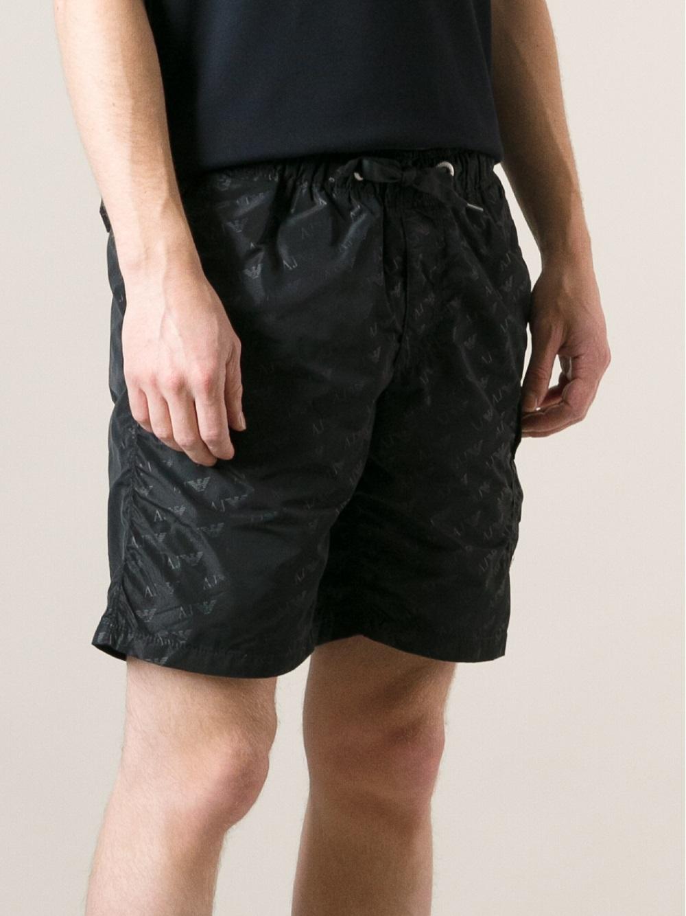 a5f098ccc5 Armani Jeans Logo-Print Swim Shorts in Black for Men - Lyst