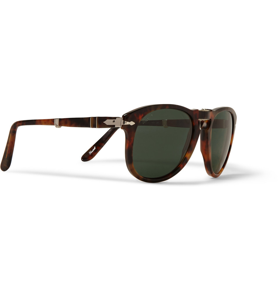 9bf36c4e8d6 Lyst - Persol Round-Frame Folding Tortoiseshell Sunglasses in Brown ...