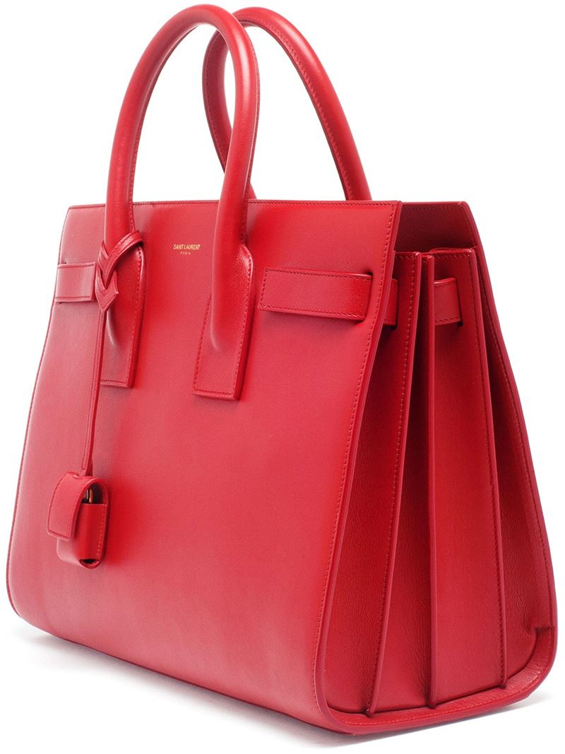 saint laurent small sac de jour leather tote bag in red lyst. Black Bedroom Furniture Sets. Home Design Ideas