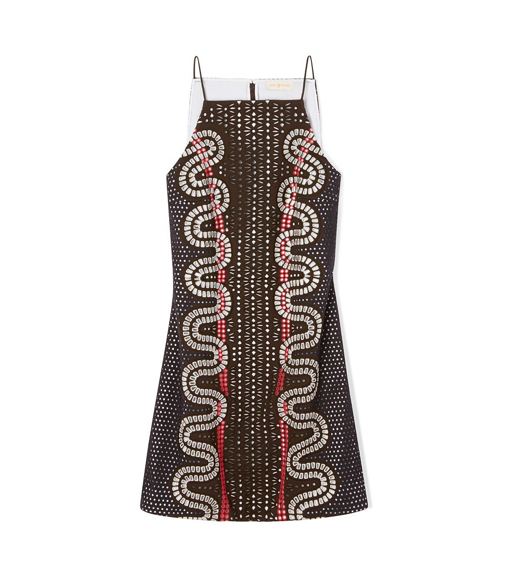 Tory burch embroidered crepe sleeveless dress in brown lyst