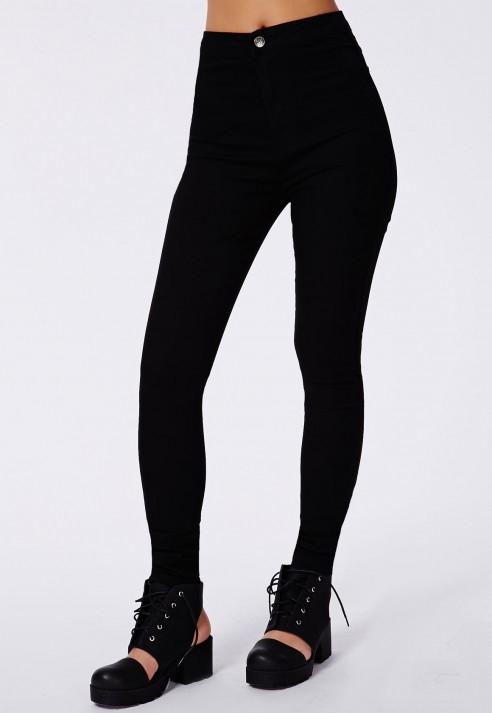 Missguided Brigitte Super Skinny Jeans In Matte Black in Black | Lyst