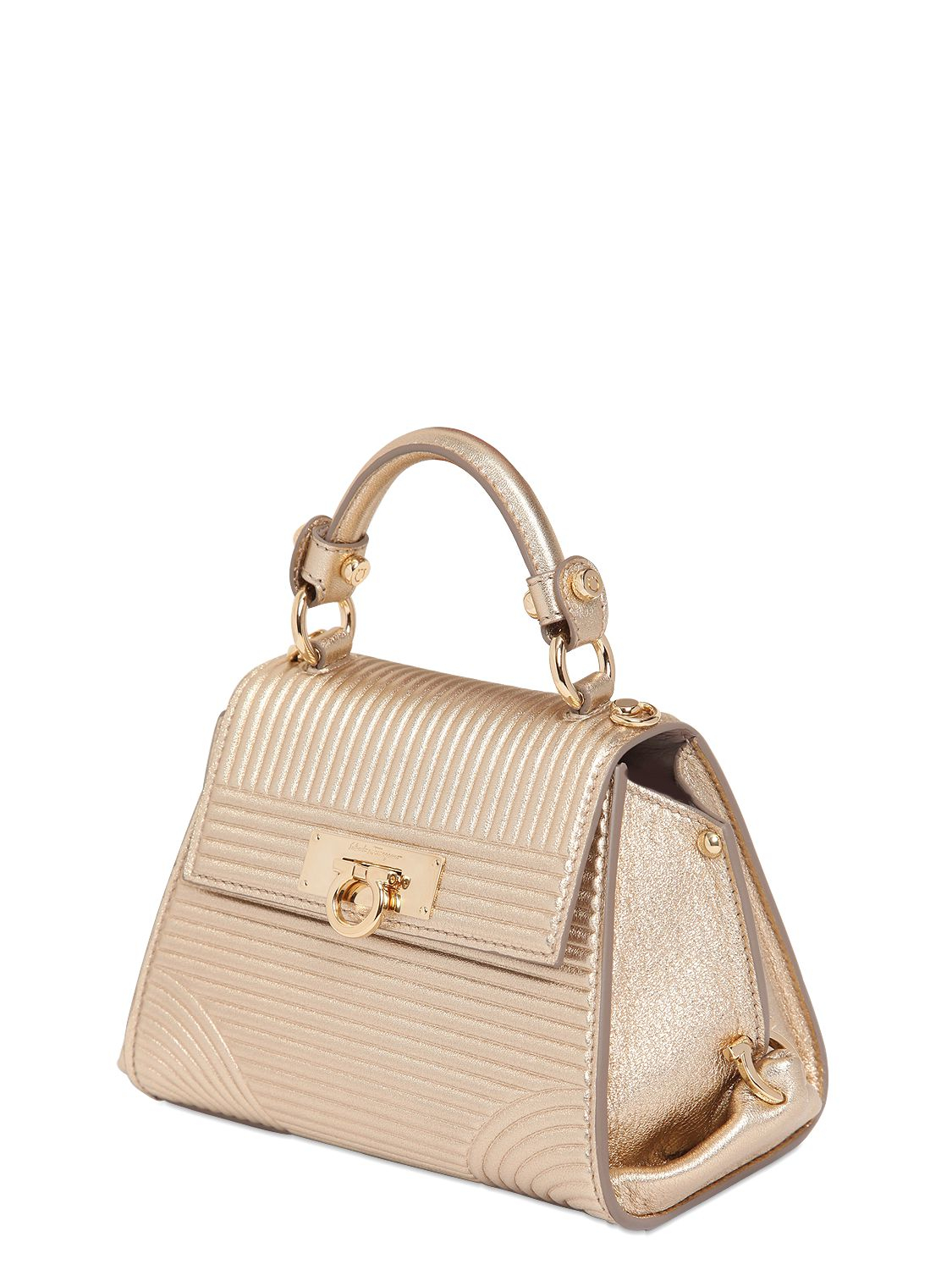 0ee600fc2b7 Lyst - Ferragamo Mini Sofia Metallic Leather Bag in Metallic
