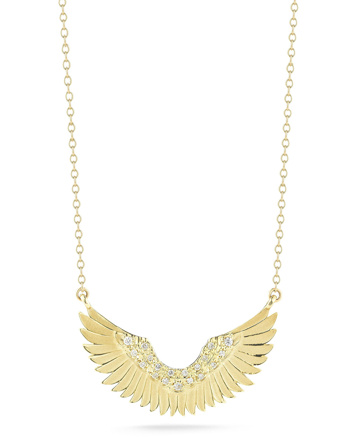 mizuki small 14k gold wing pendant necklace in