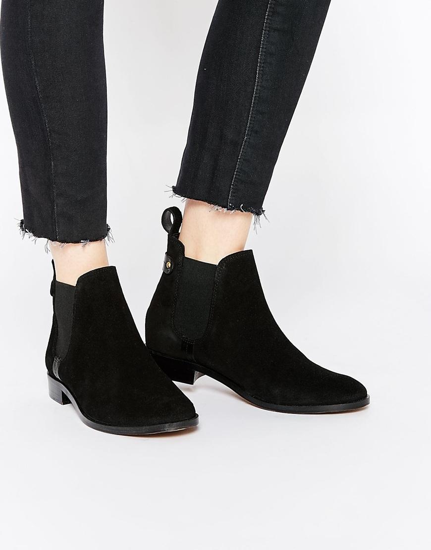 carvela kurt geiger turn suede chelsea boots in black lyst