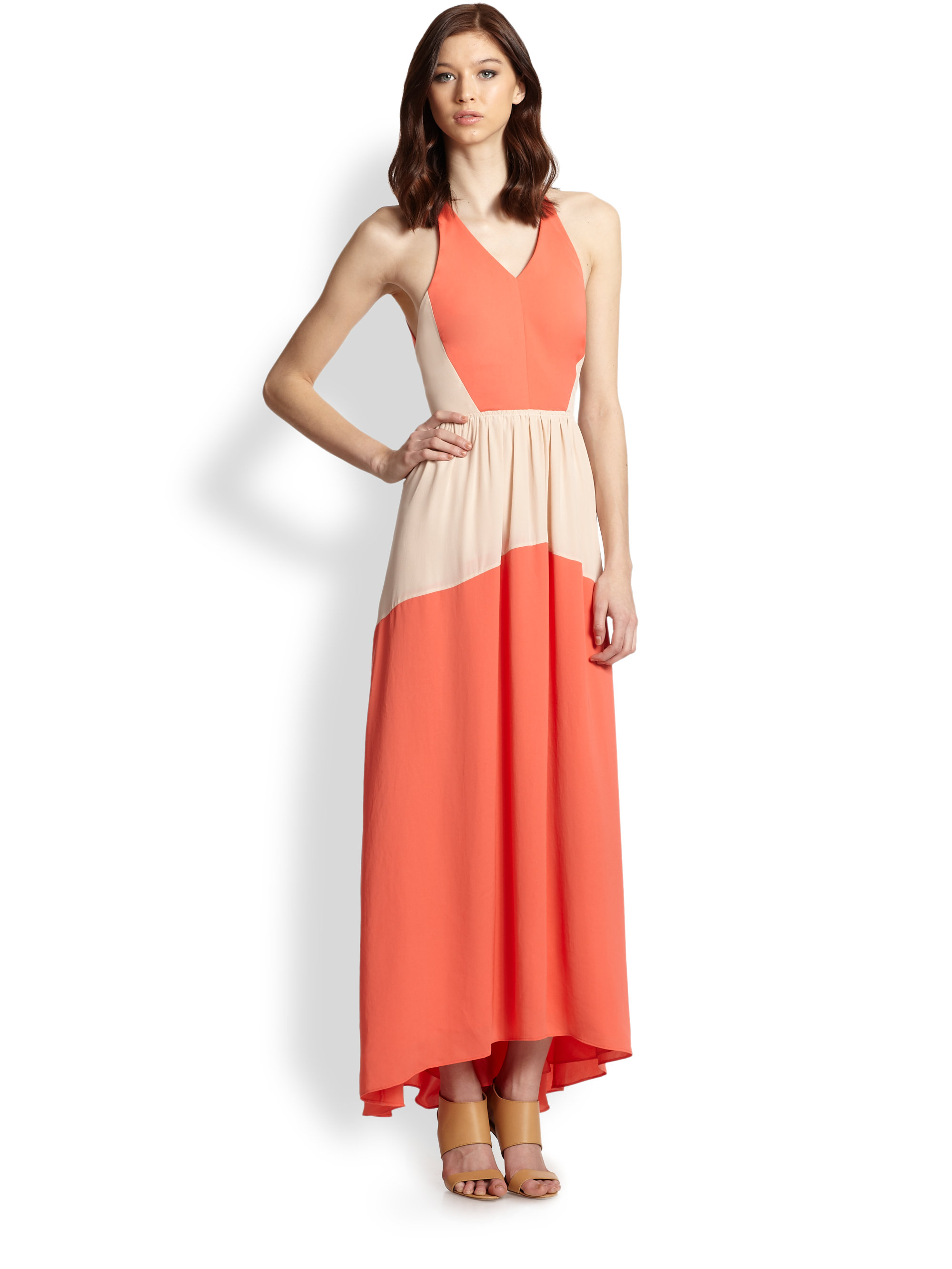 Tibi Open-Back Colorblock Maxi Dress in Orange | Lyst