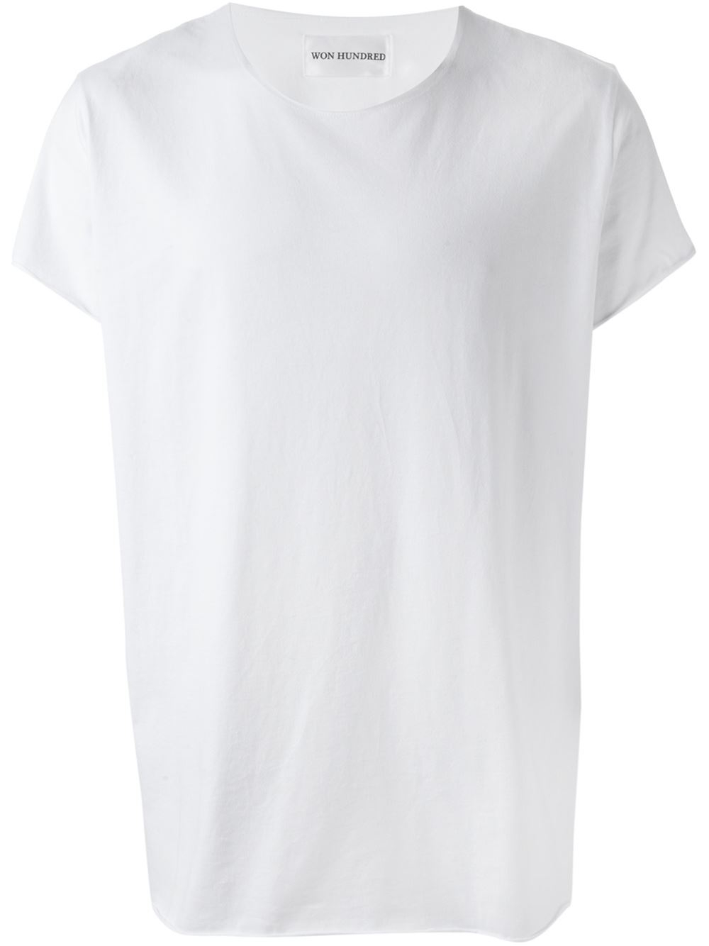 Won hundred crew neck cotton t shirt in white for men lyst for Crew neck white t shirt