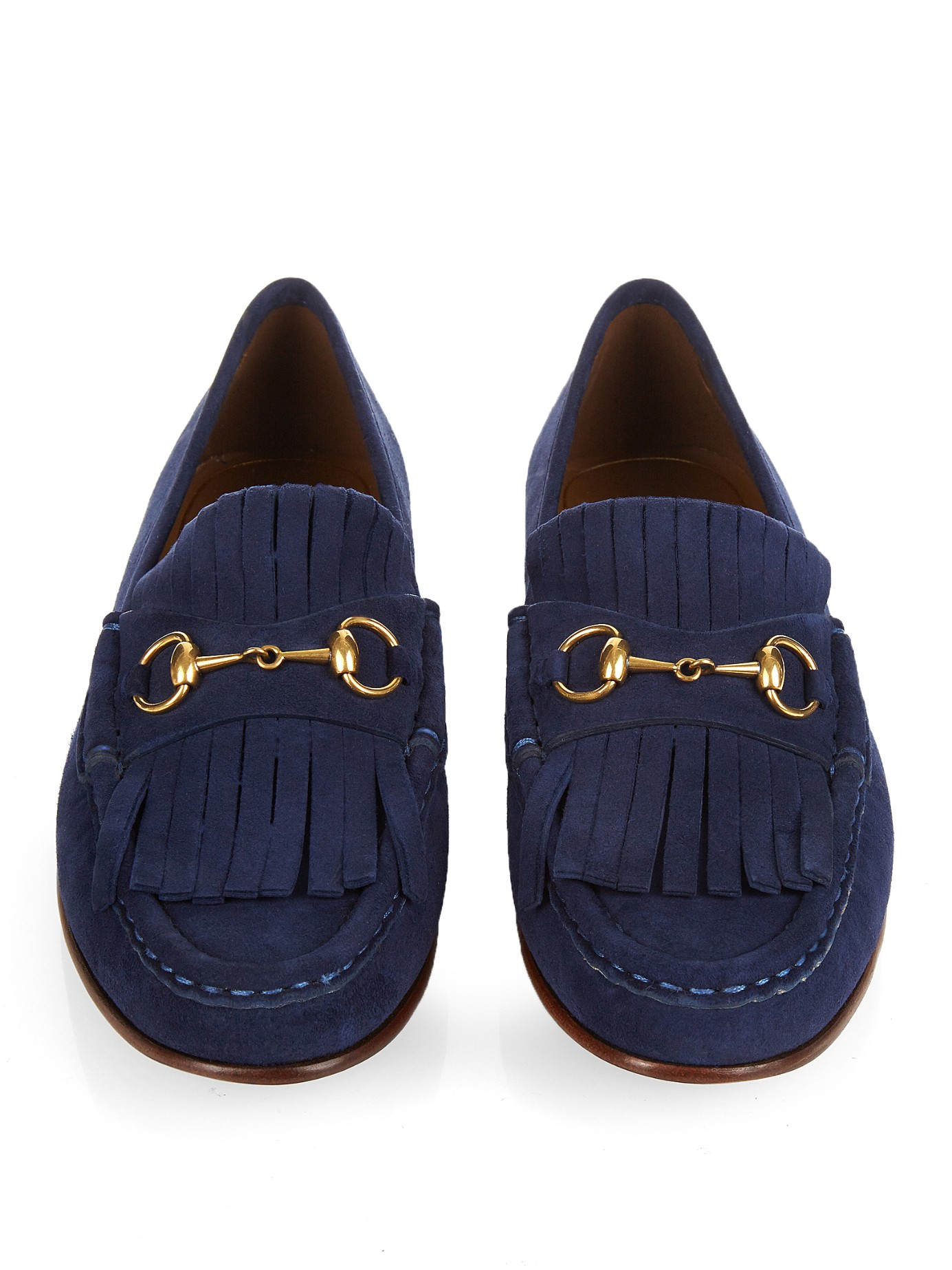 787c35620d4622 Gucci Horsebit Suede Loafers in Blue - Lyst