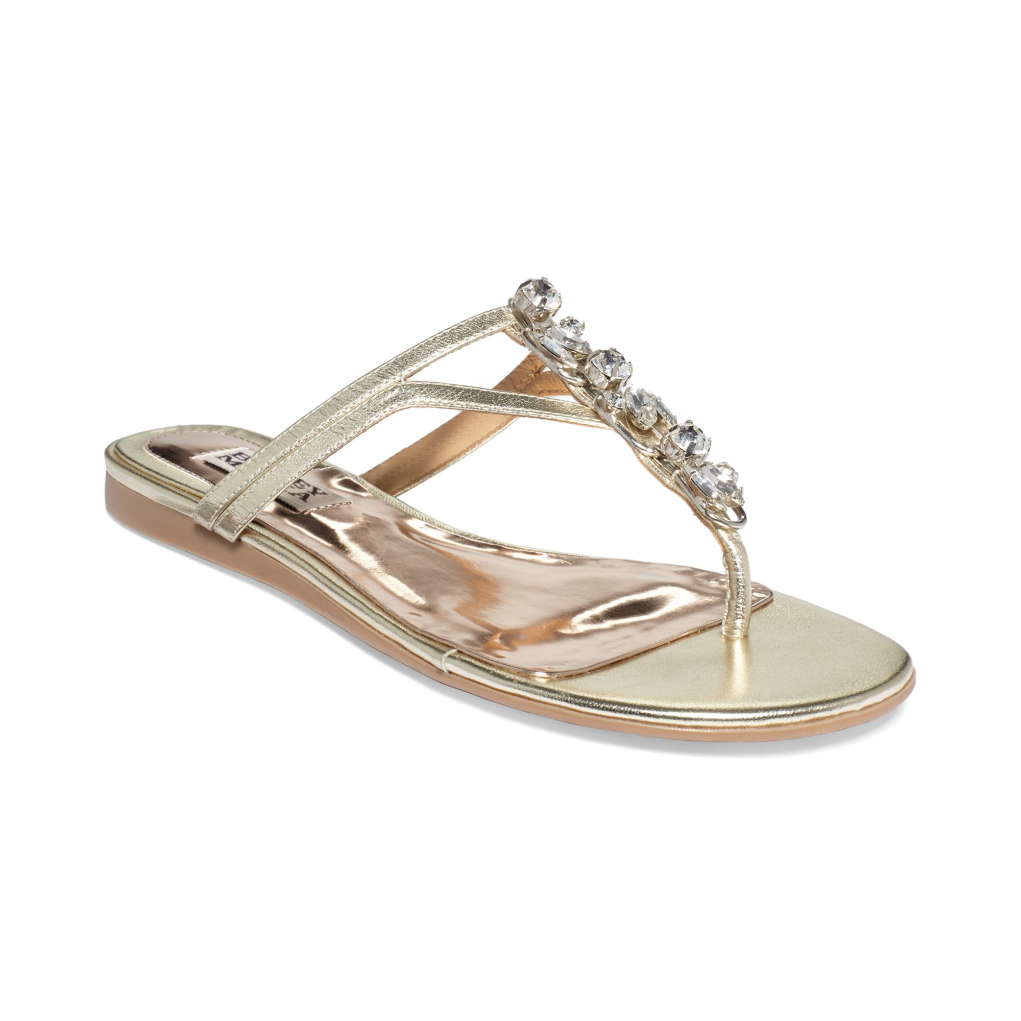 Badgley Mischka Kittie Jeweled Thong Sandals In Silver