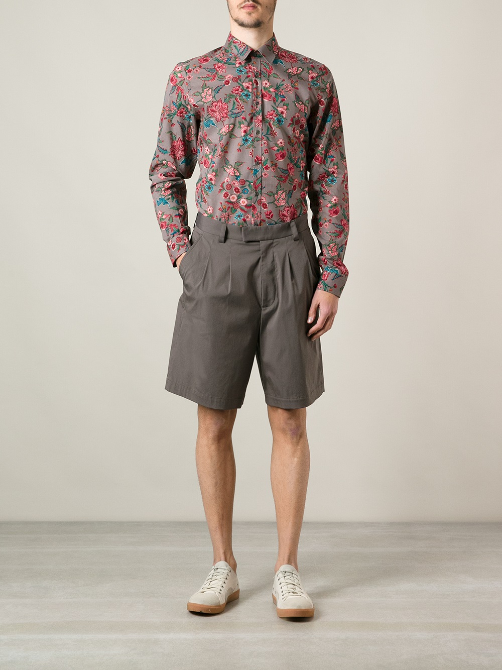 lyst gucci floral print shirt in purple for men