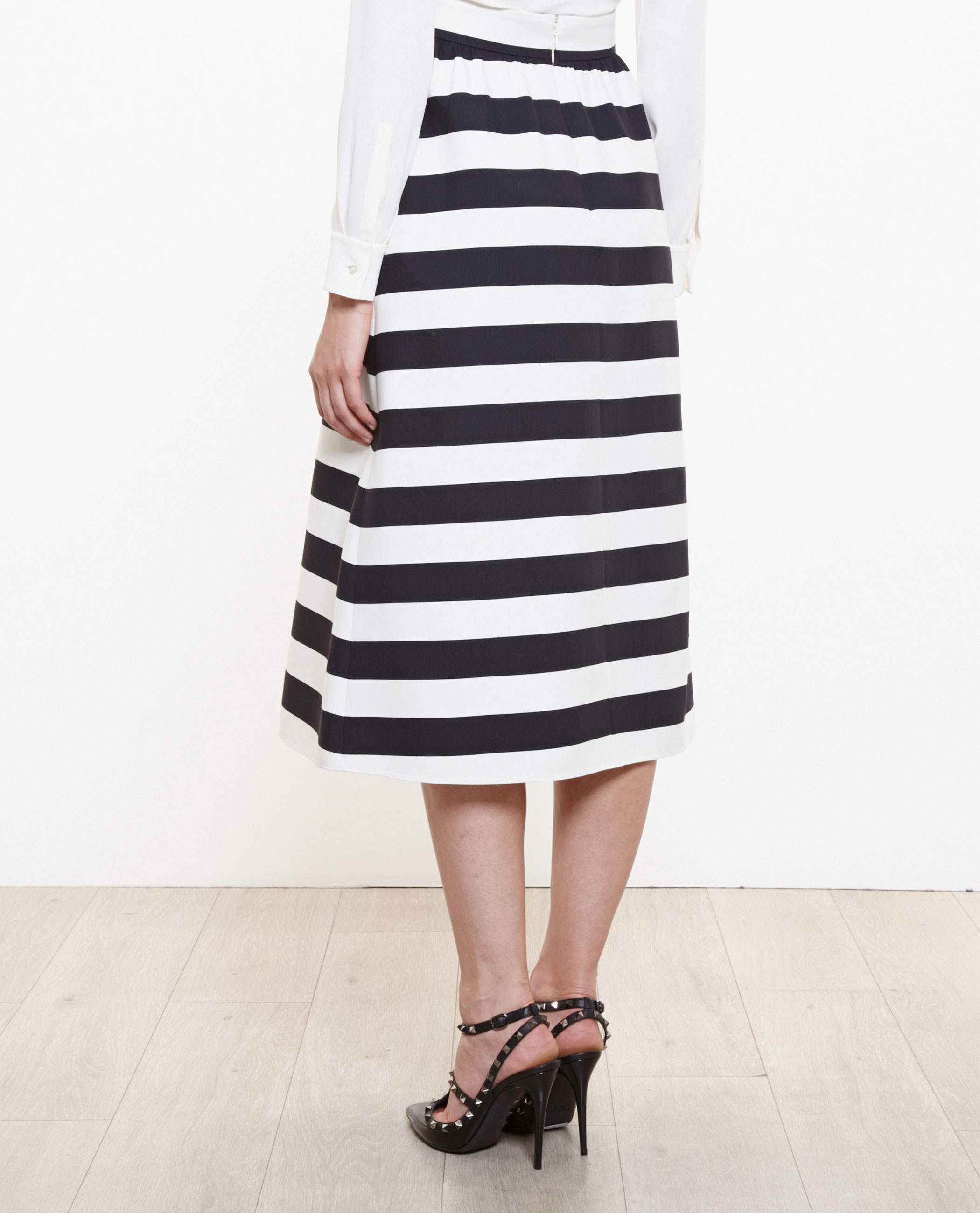 Valentino Striped Midi Skirt in Black | Lyst