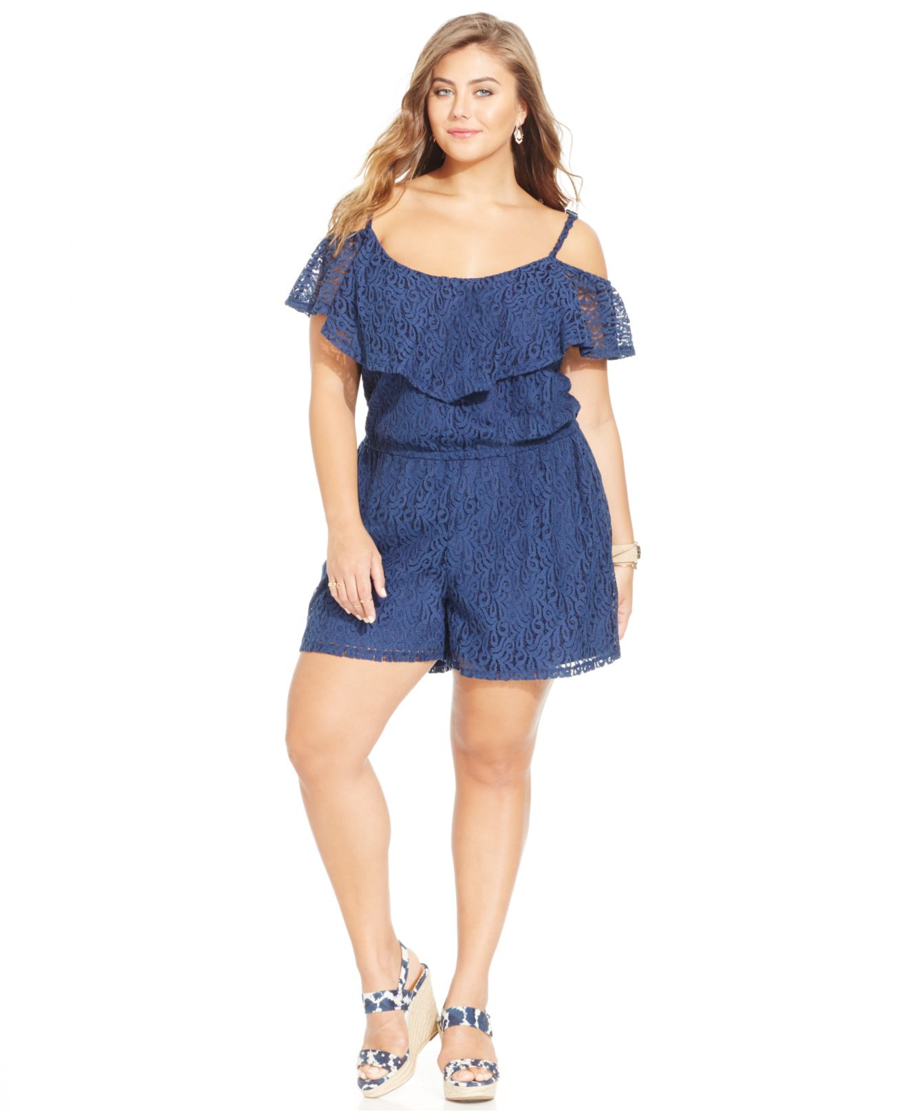330998803f0 Lyst - Jessica Simpson Plus Size Off-The-Shoulder Lace Romper in Blue