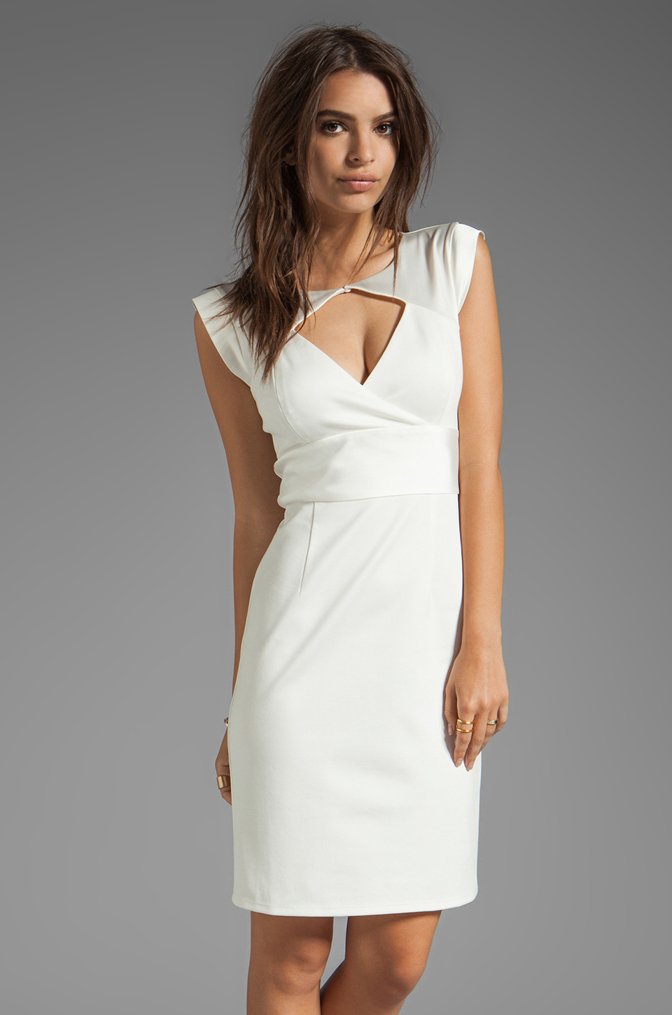 fd8785996dd95 Lyst - Halston Sleeve Contrast Ponte Dress with Diamond Cut Out in ...