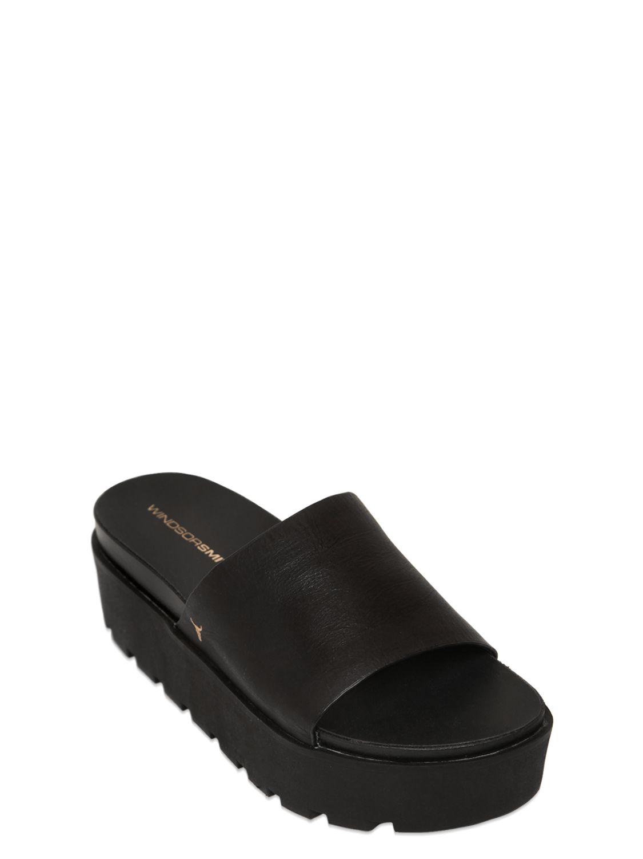 99c303f29 Lyst - Windsor Smith Leather Platform Slides in Black