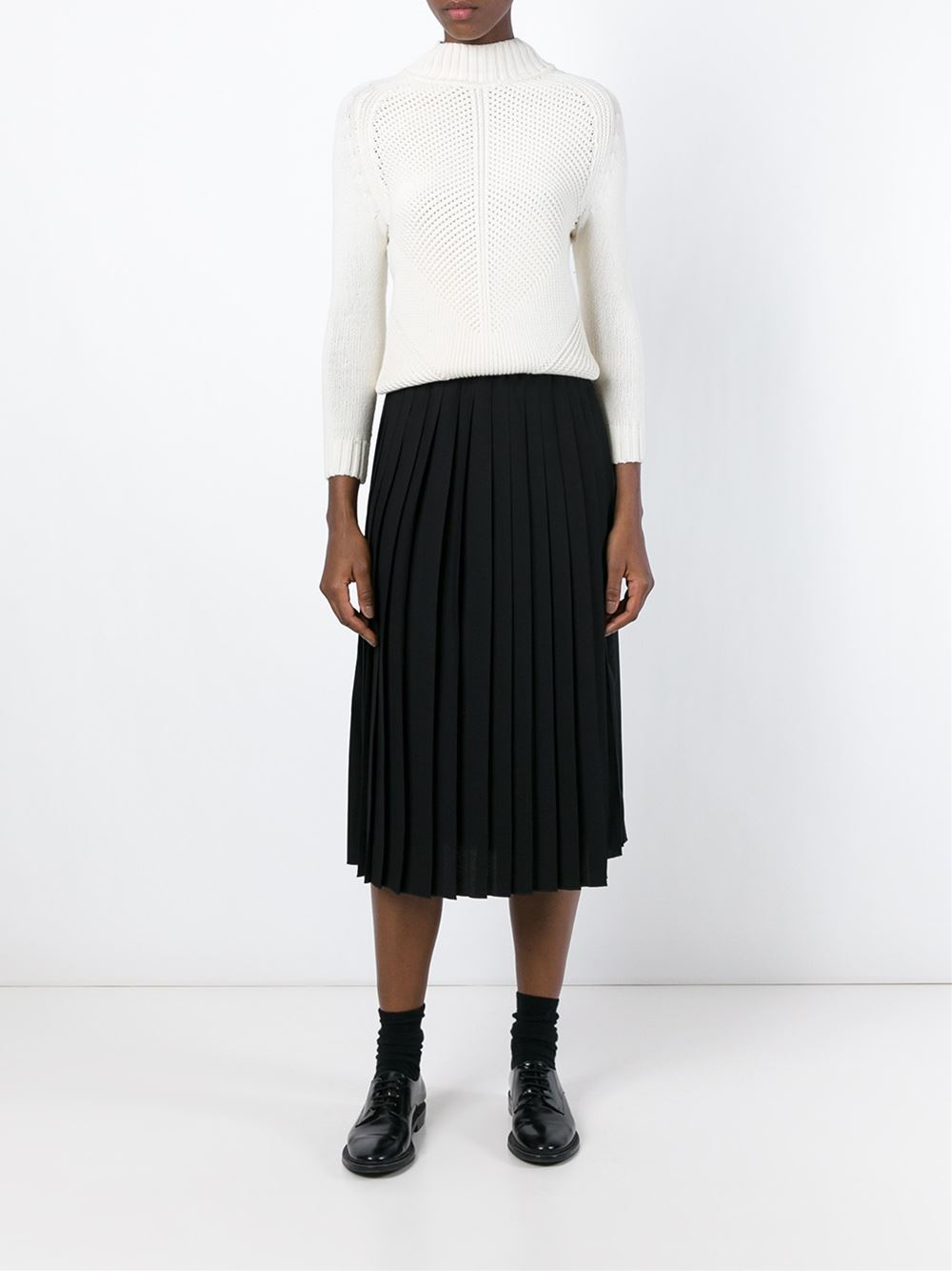 Ymc Pleated Midi Skirt in Black | Lyst