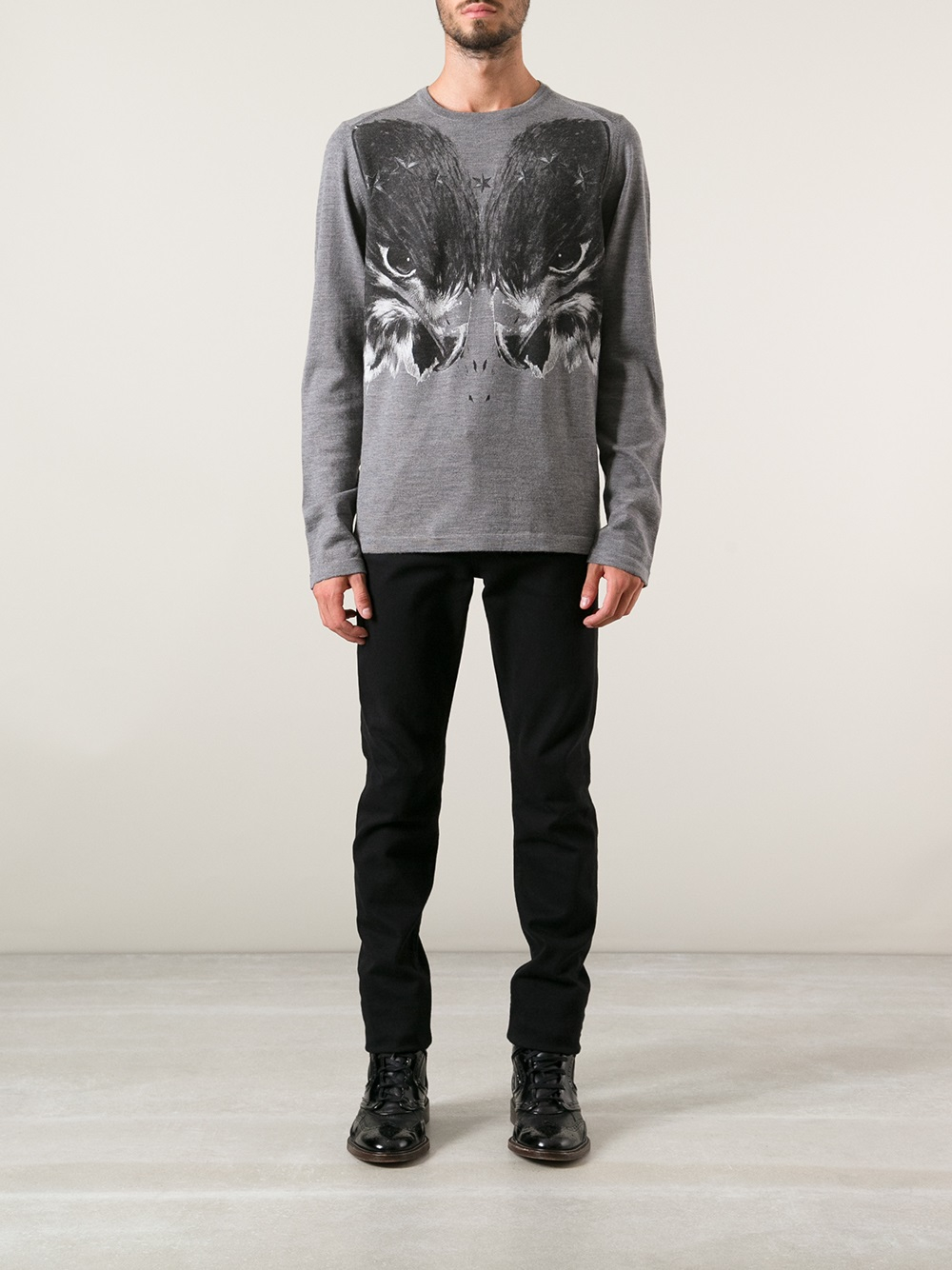 just cavalli eagle print sweater in gray for men lyst. Black Bedroom Furniture Sets. Home Design Ideas