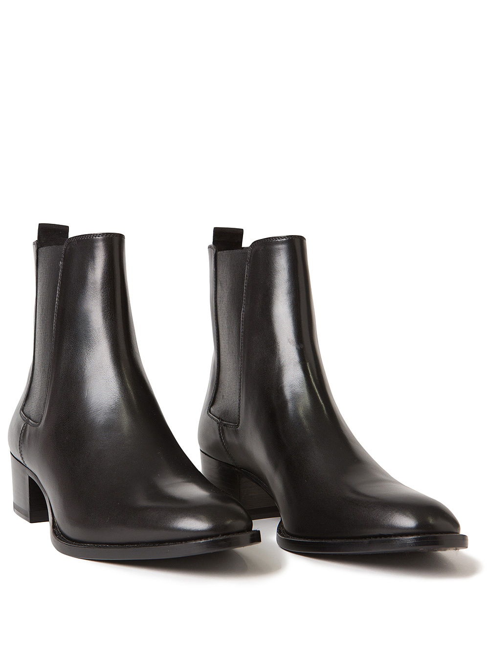 SAINT LAURENT Wyatt leather chelsea boots Black - T5531