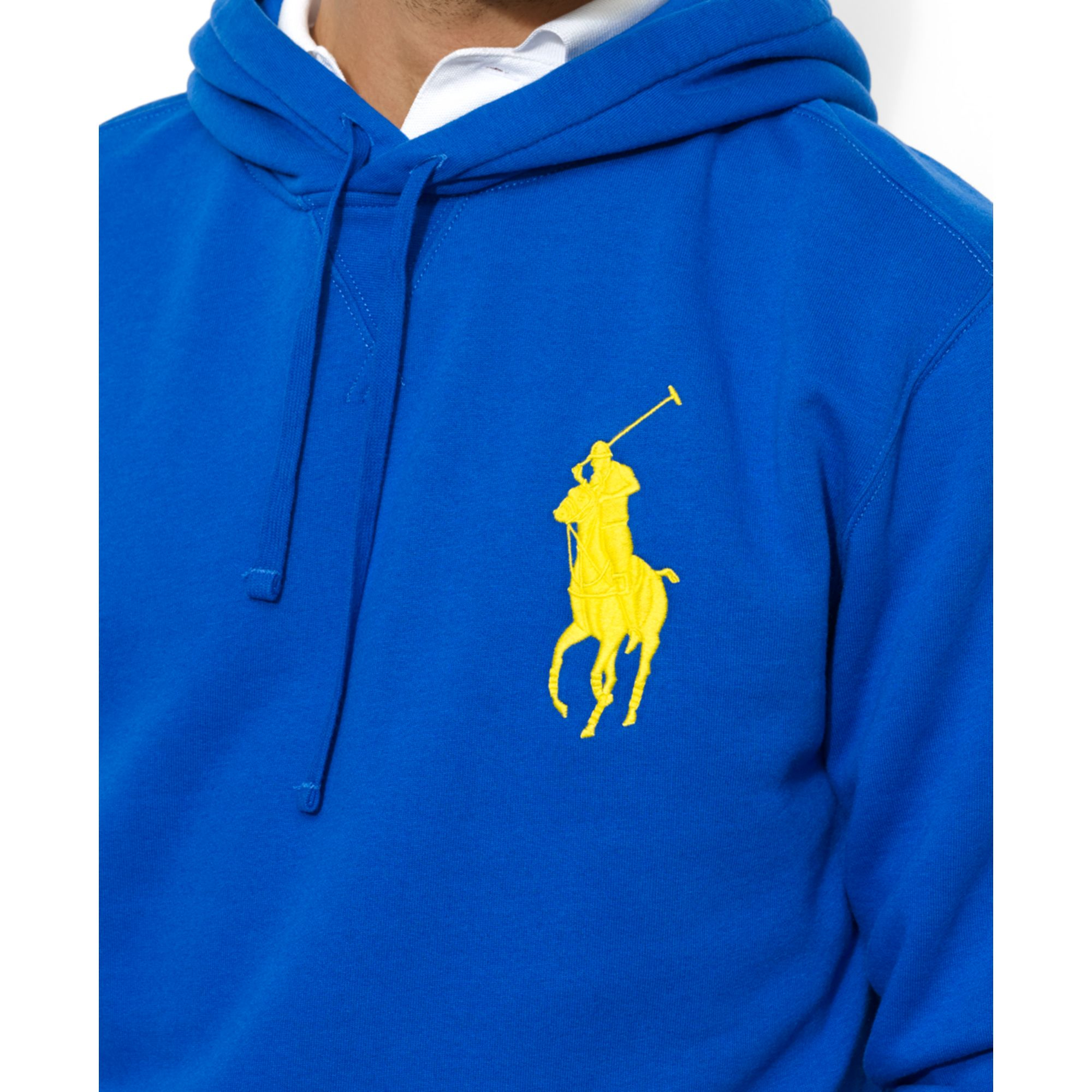 Ralph Lauren Hoodie Royal Blue Pullover POLO Ralph Lauren Pullover Embroidered Logo Cobalt Blue Sweatshirt Yellow Pony Logo Medium Size rmKZq7x1kH