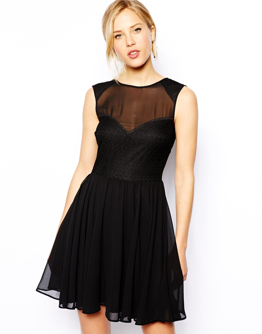 asos lace mix skater dress in black lyst