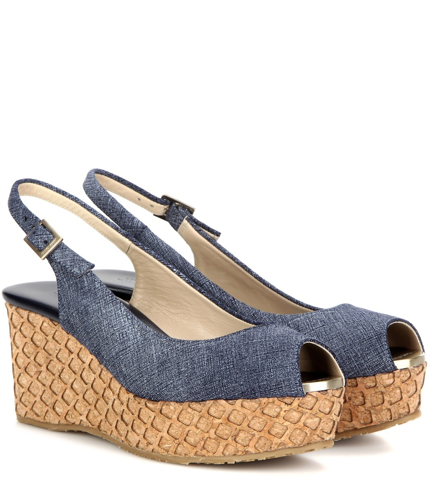 jimmy choo praise denim wedge sandals in blue lyst