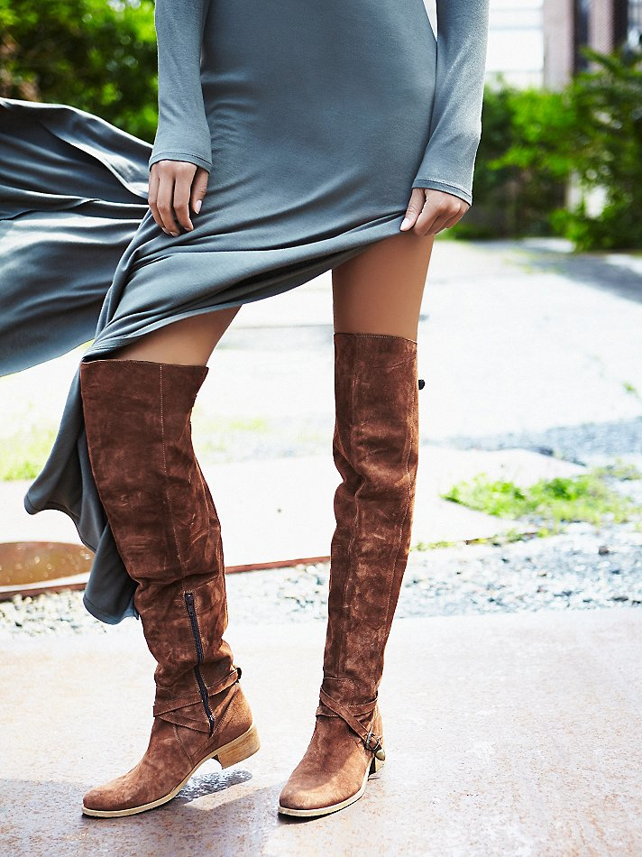 cb20ee8f17c38 Lyst - Free People Amorosa Suede Over The Knee Boot in Brown
