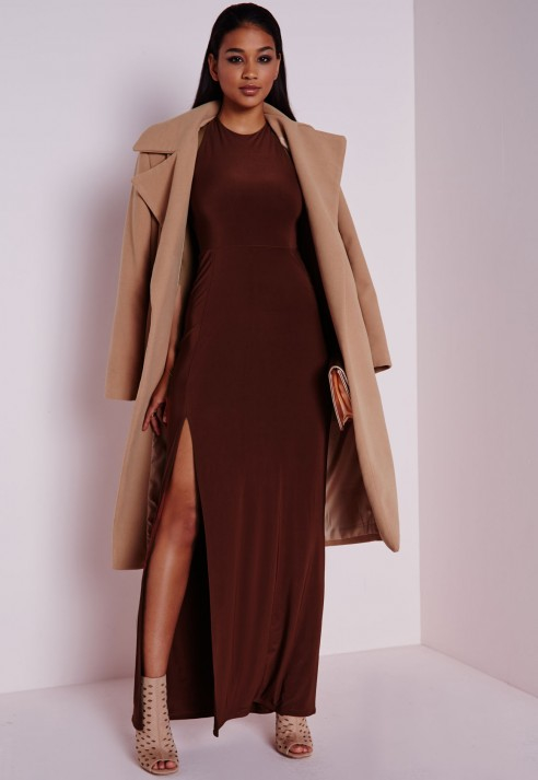 Missguided Slinky Side Split Maxi Dress Chocolate Brown in Brown ...