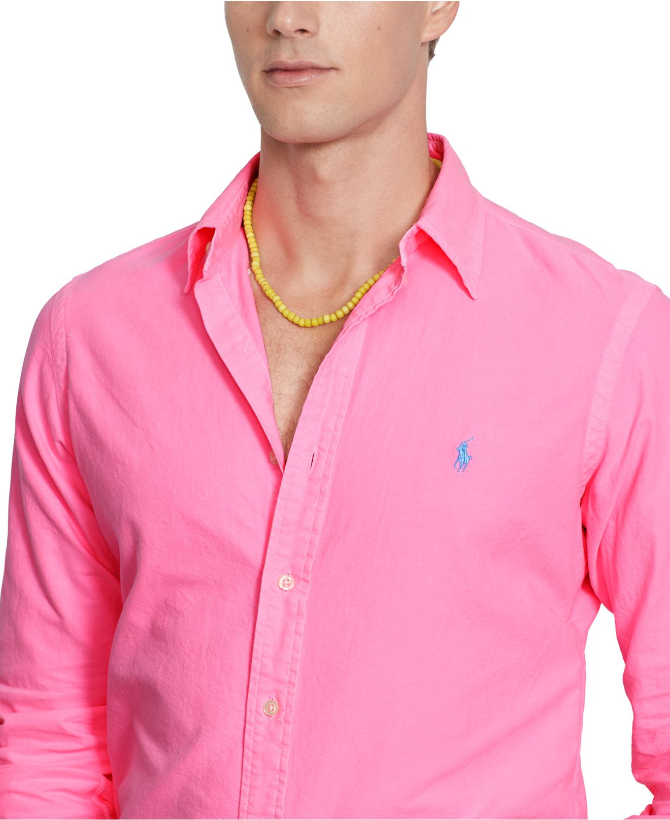 Lyst polo ralph lauren solid oxford shirt in pink for men for Pink oxford shirt men