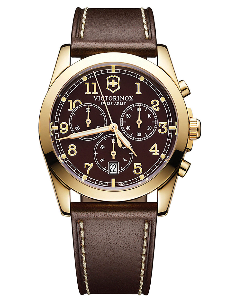 victorinox mens infantry gold tone and leather chronograph