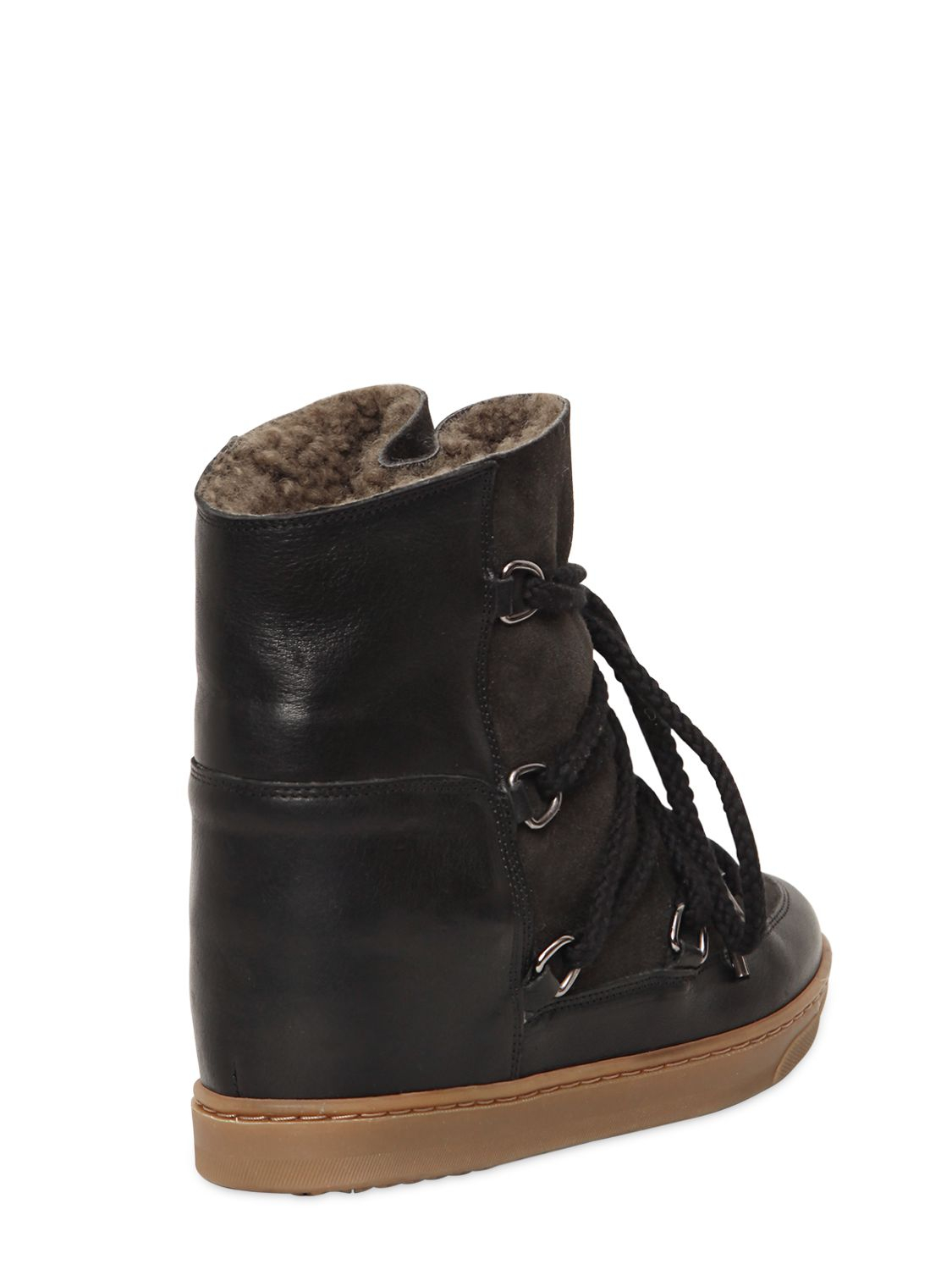 Isabel Marant 70mm Nowles Suede Shearling Boots In Black