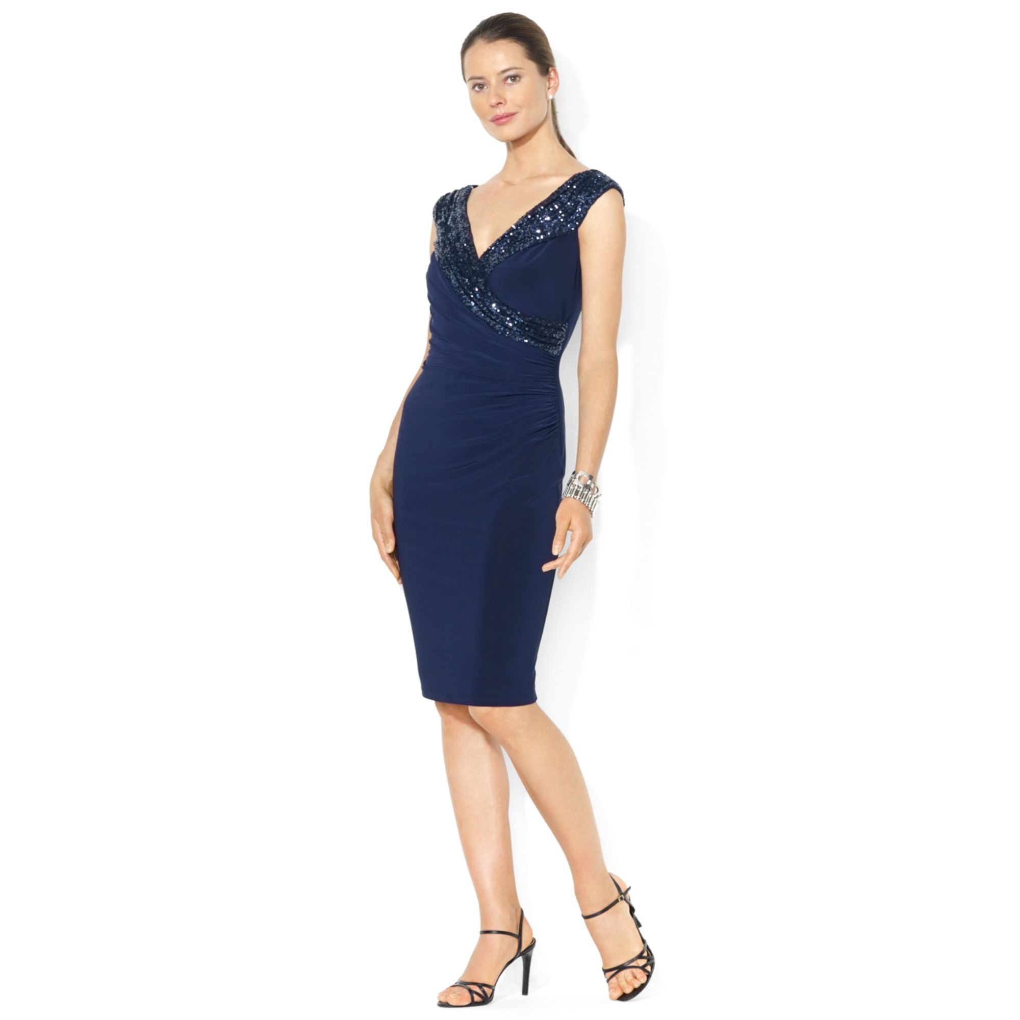 Lauren Ralph Lauren Väskor : Lauren by ralph sleeveless sequined dress in blue
