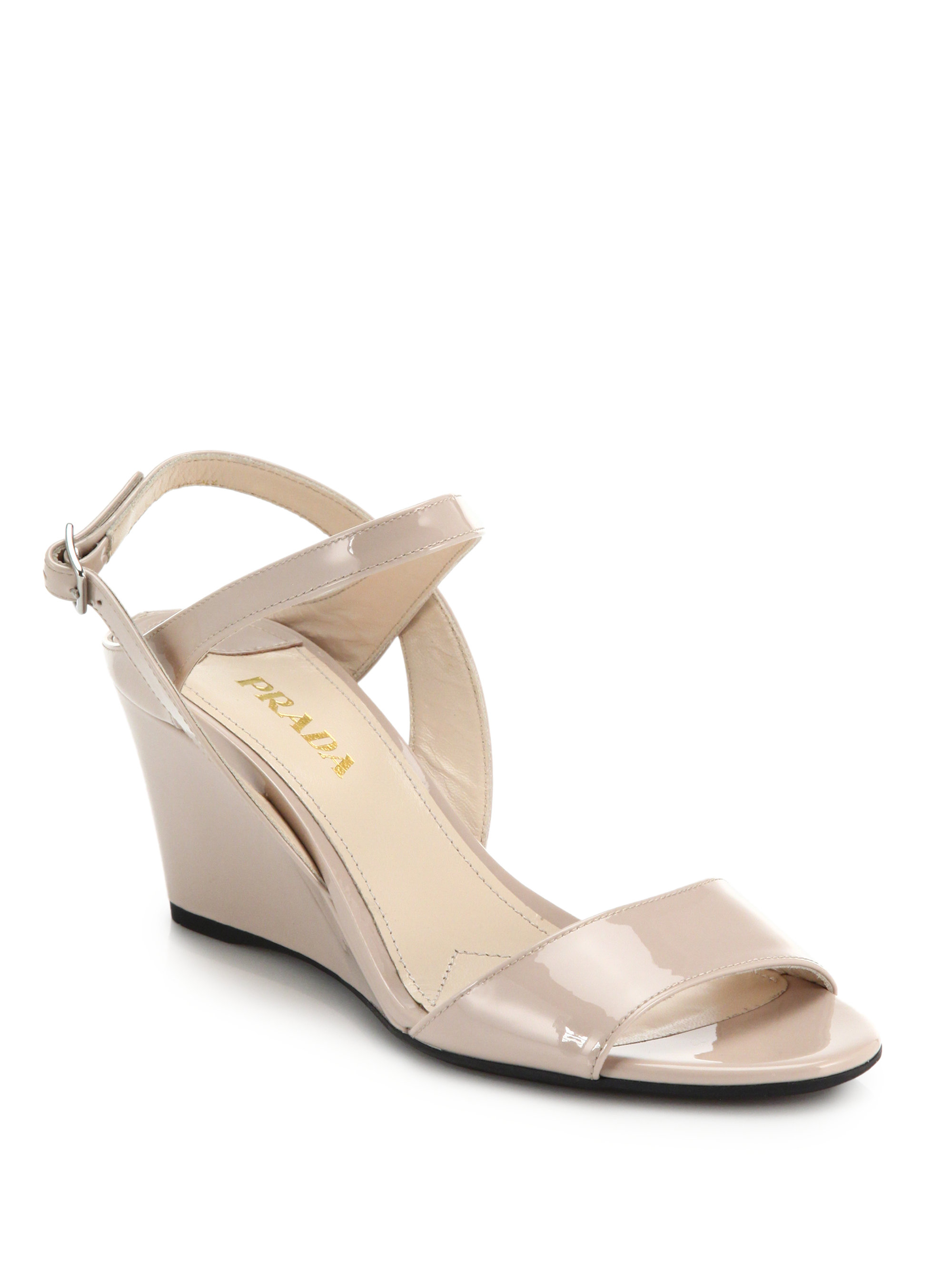 prada patent leather wedge sandals in pink lyst