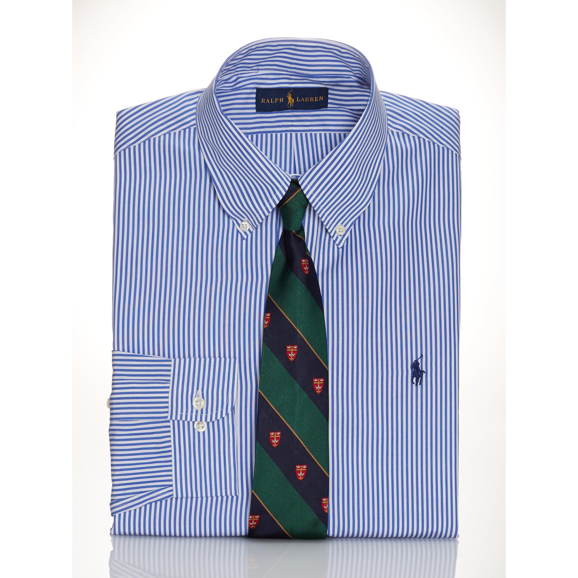 ralph lauren slim fit striped poplin shirt in blue for men blue white. Black Bedroom Furniture Sets. Home Design Ideas