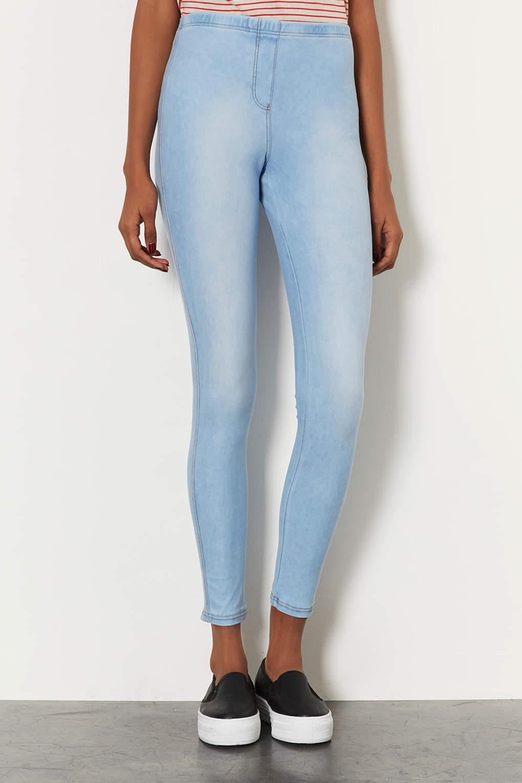 Lyst Topshop Washed Denim Look Leggings In Blue