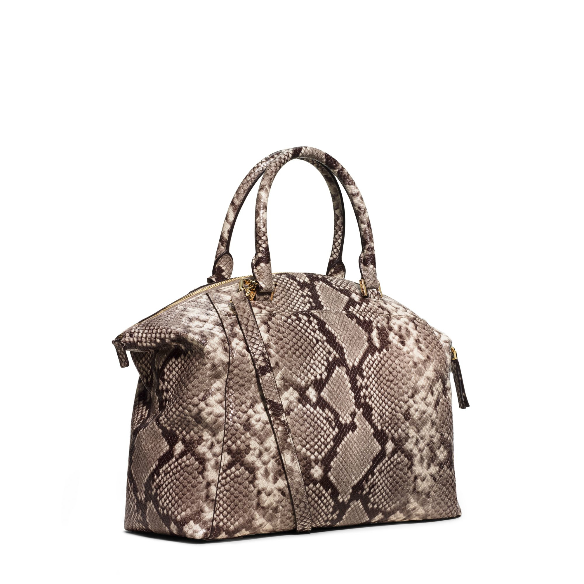 53d234f4cba3 Michael Kors Riley Large Embossed-leather Satchel in Natural - Lyst